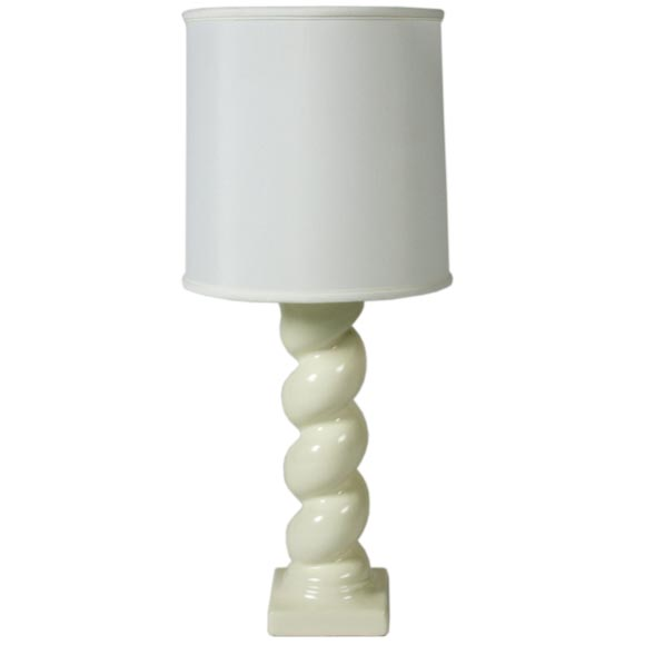 In the style of Michael Taylor Plaster Twisted Column Lamp For Sale