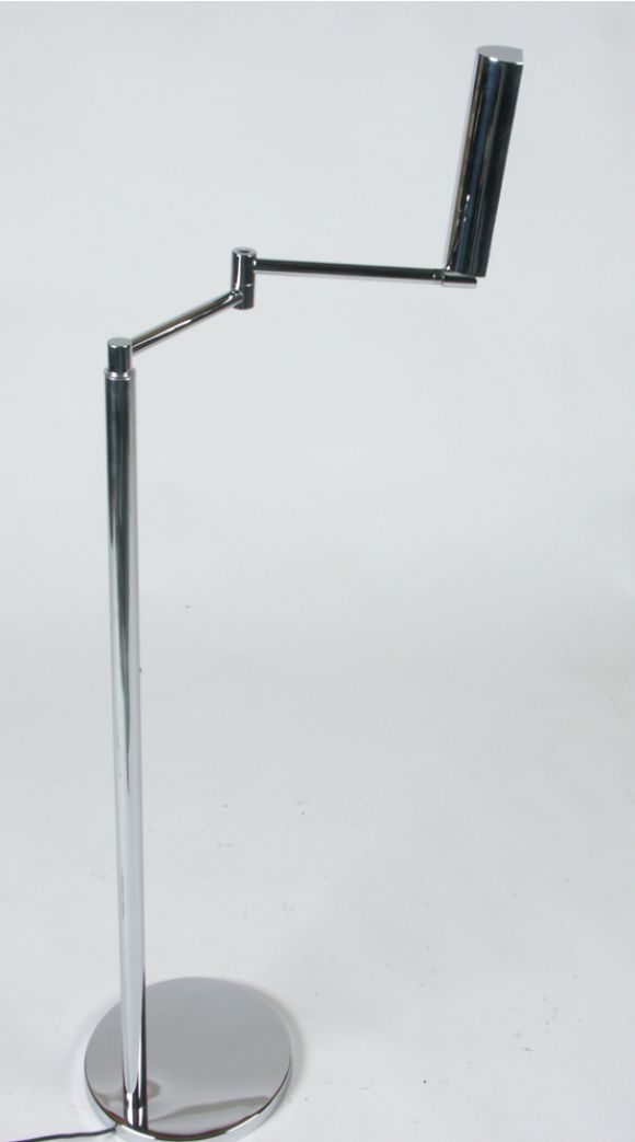 In the Style of Cedric Hartman Adjustable Chrome Swing Arm Floor Lamp In Good Condition For Sale In St. Louis, MO
