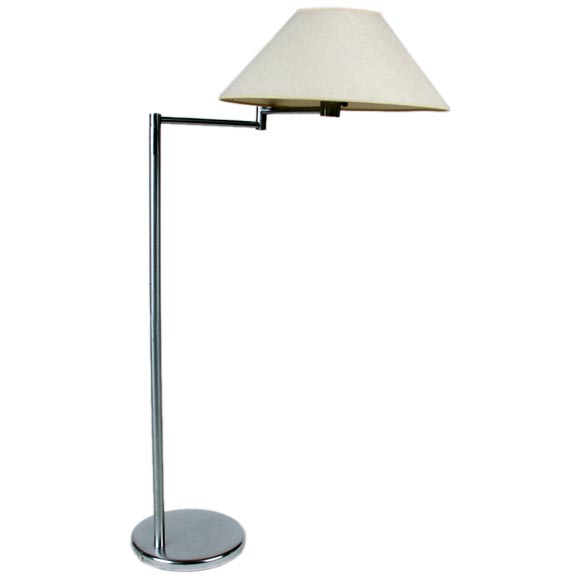 Pairs or Singles of Nessen Floor Lamps in Either Nickel, Chrome or Brass