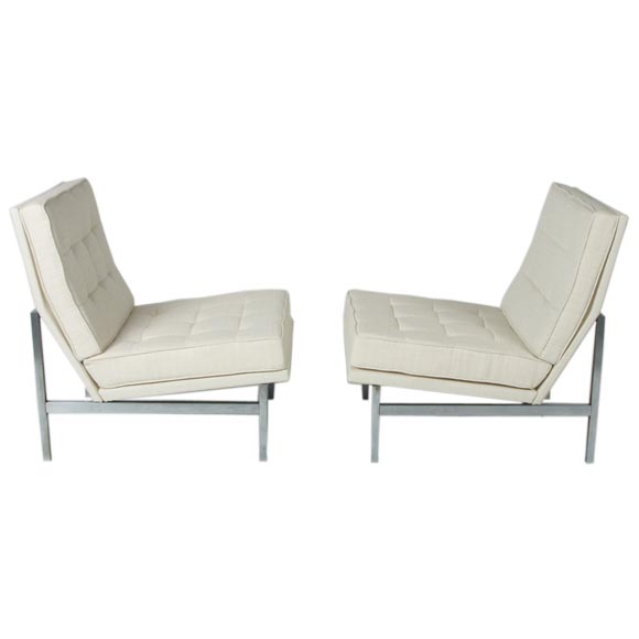 Pair Of Vintage Florence Knoll Slipper Chairs For Sale