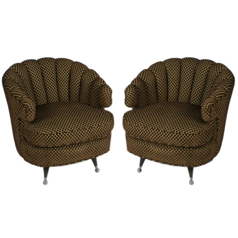 Pair of midcentury swivel chairs with ball feet at 1stdibs - Swivel feet for chairs ...