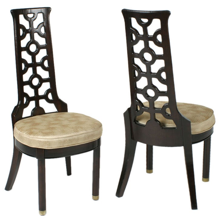 Set Of 8 High Back Hollywood Regency Dining Chairs At 1stdibs