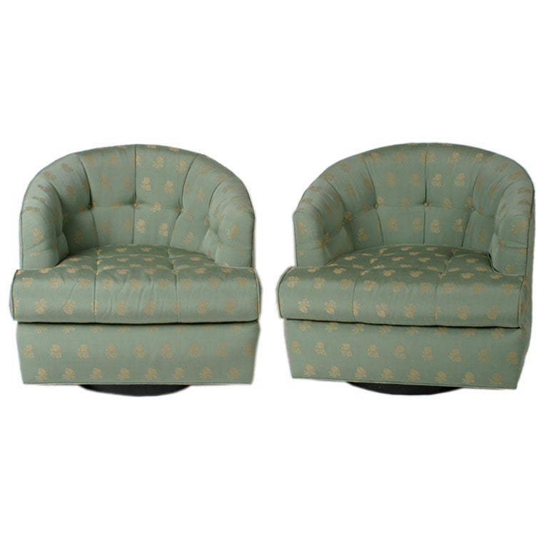 Pair Of 1940 S Upholstered Swivel Chairs At 1stdibs