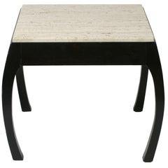 Harvey Probber Travertine Top Asian Modern Side Table