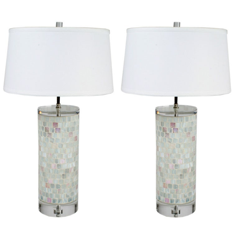 Pair of Italian Glass Mosaic and Lucite Table Lamps