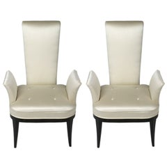 Pair of Dramatic 1940s High Back Armchairs