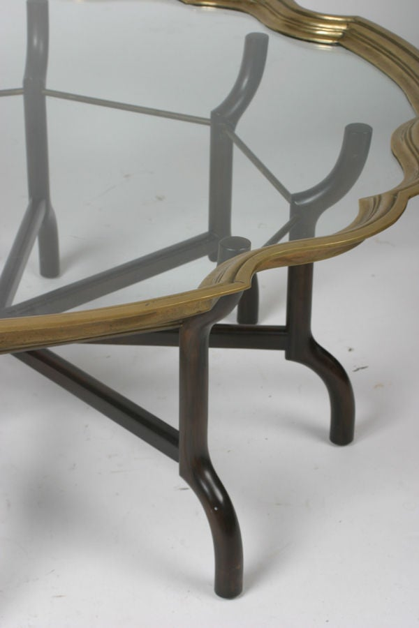 American Baker 1960s Sculptural cocktail table with brass edge top For Sale
