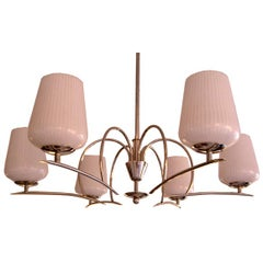 Elegant 6 arm nickel silver light fixture with glass globes
