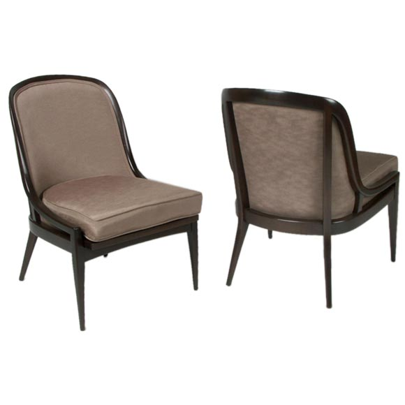 Pair of Rounded Back Side Chairs by Baker