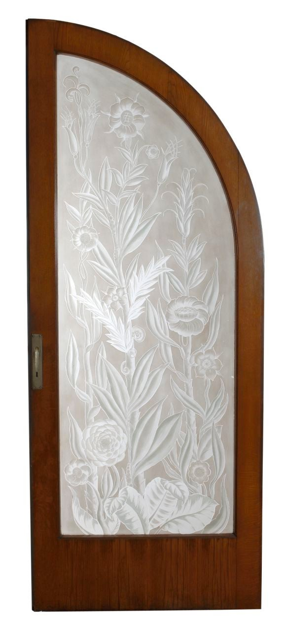 pair of etched wheel cut glass doors with frame at 1stdibs