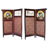 FOUR LEAF SCREEN WITH ART GLASS PANELS