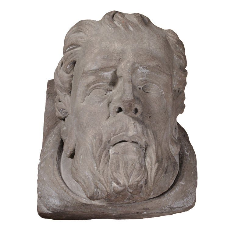 Carved stone head at stdibs