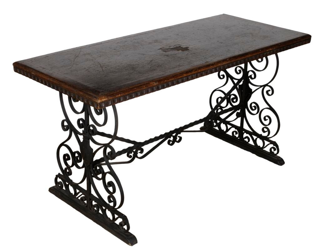 Wrought iron and wood decorative table at 1stdibs for Wrought iron coffee table with wood top