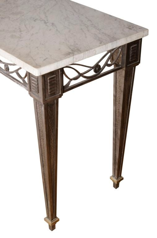fer forge marble top table console at 1stdibs. Black Bedroom Furniture Sets. Home Design Ideas