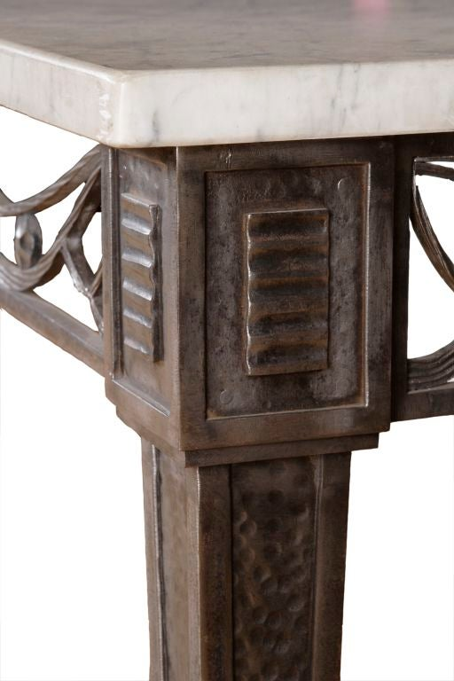 FER FORGE MARBLE TOP TABLE CONSOLE at 1stdibs