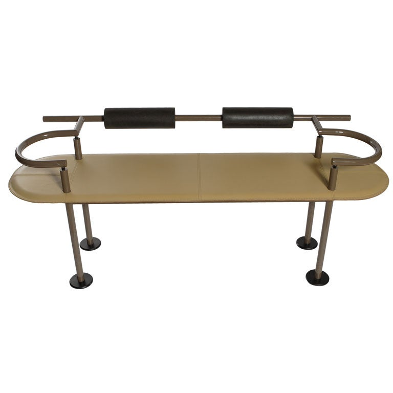 Post Modern Italian Leather Bench At 1stdibs
