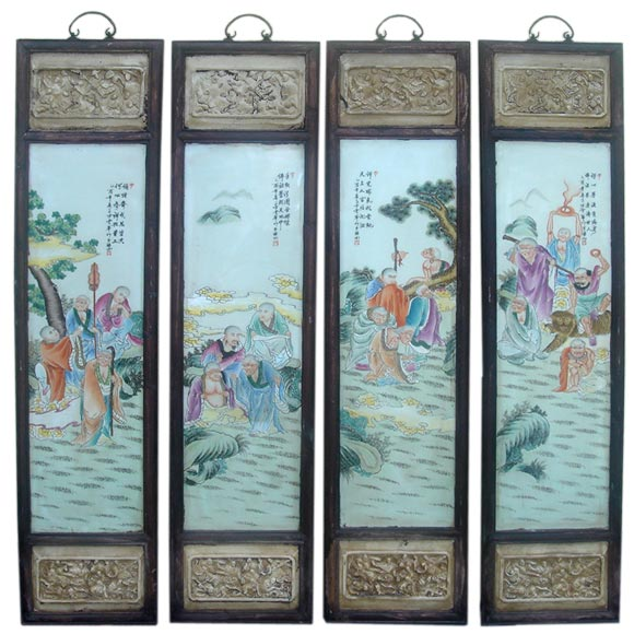 Set of four Chinese wall panels