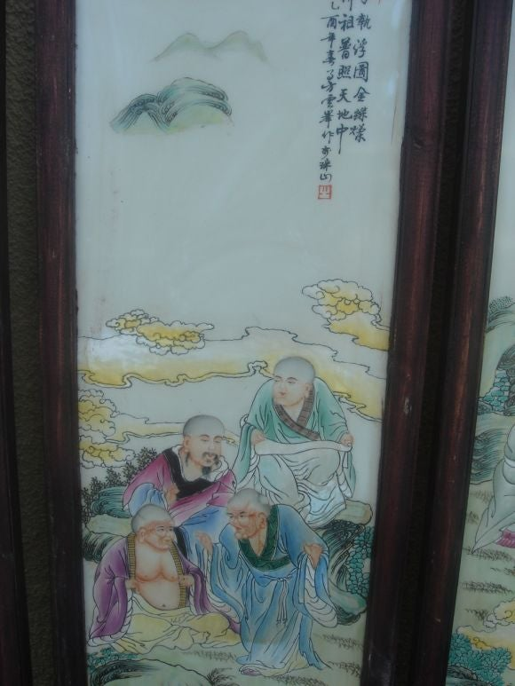 Set of four Chinese wall panels image 4