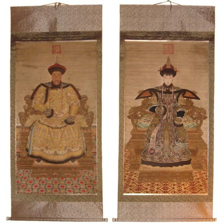 Pair Of Large Chinese Emperor And Empress Scrolls At 1stdibs