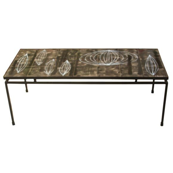 Modern J Belarti Signed Iron And Painted Tile Table At
