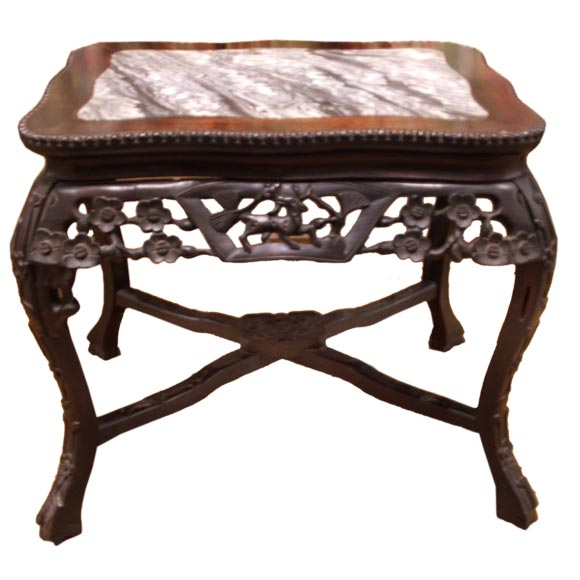 Nail Marble Top Coffee Table: Teak Wood Chinese Carving Table With Inlaid Marble Top At