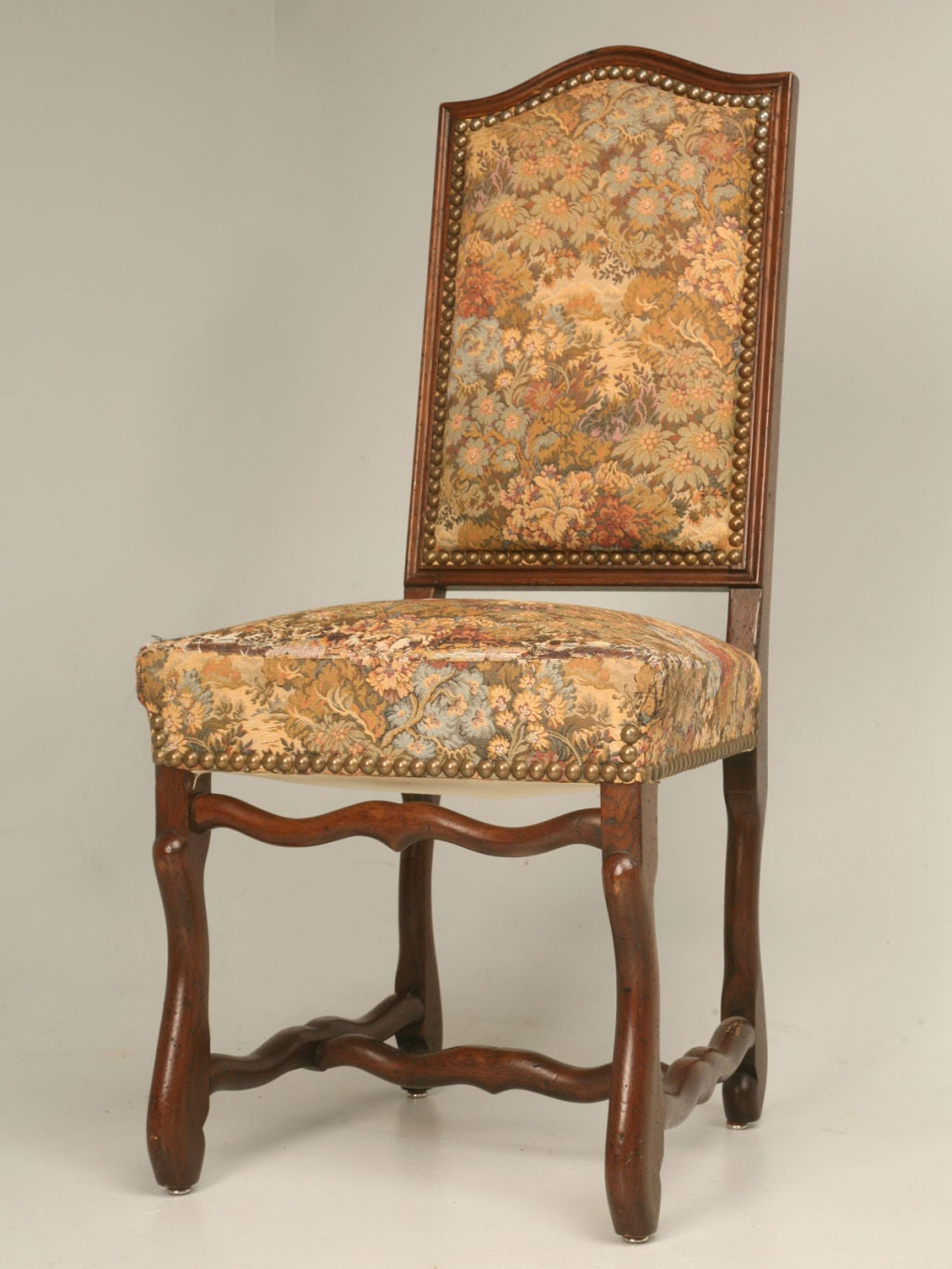 c 1930 Set of 8 French Louis XIII Style Oak Dining Chairs