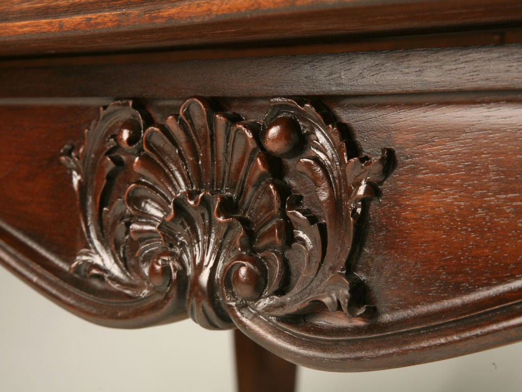 c.1920 French Walnut Draw Leaf Dining Table Conversion at