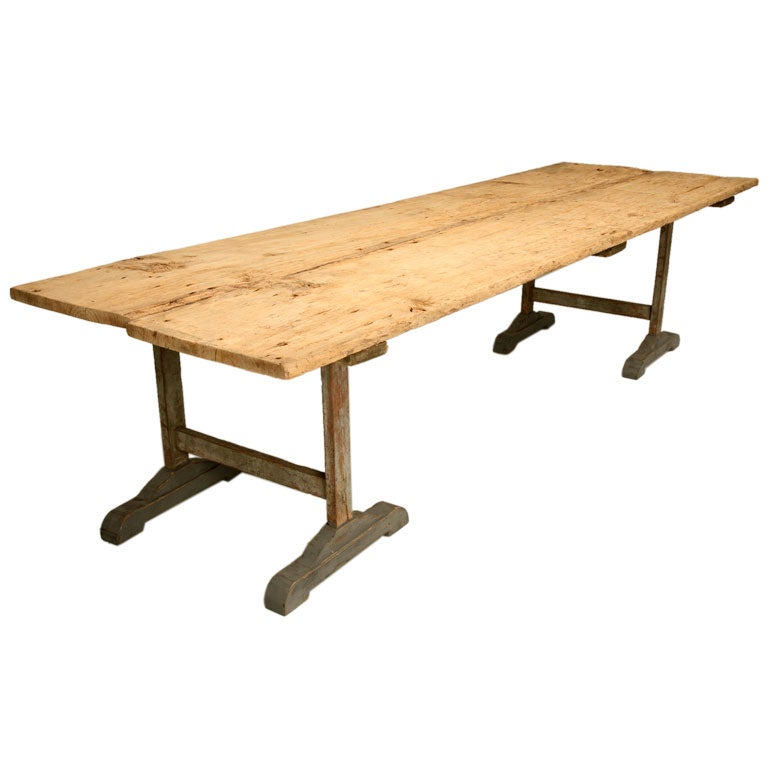 Antique country french primitive rustic 2 board top dining for Antique dining room tables