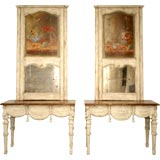 c.1800 Antique Pair Italian Trumeaux and Consoles