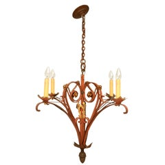 French 1940s Handwrought Iron 4-Light Chandelier