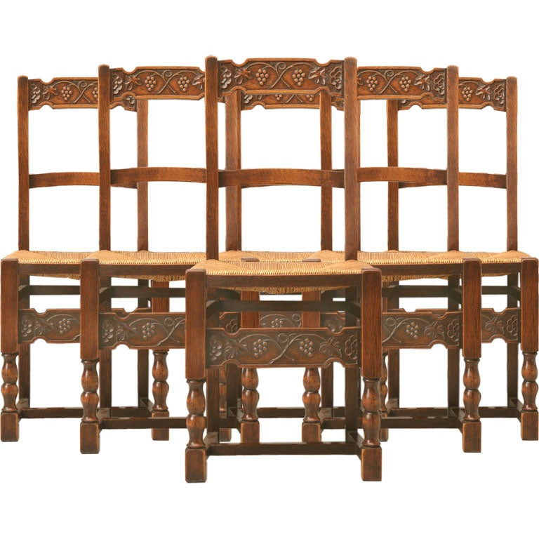 C.1890 Set Of 6 Spanish Hand-Carved Oak Dining Chairs At