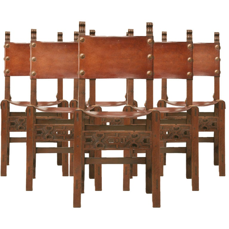 set of 6 spanish leather and oak dining chairs at
