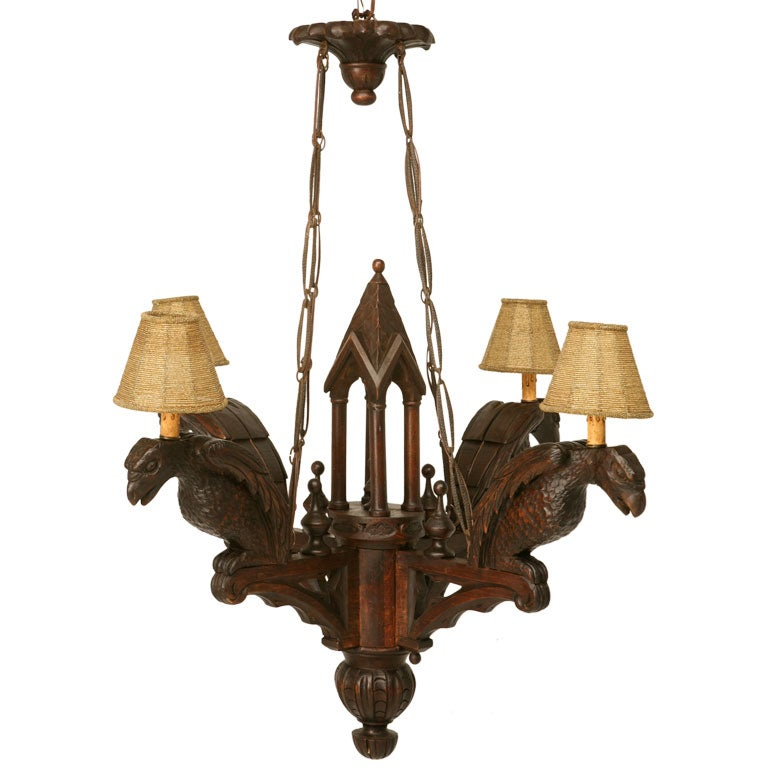 Antique French Gothic Black Forest 4 Light Chandelier W