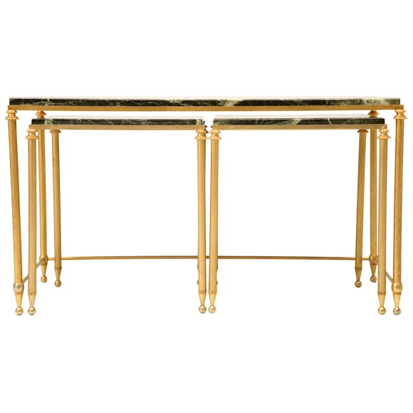 Set Of Brass And Marble Coffee Tables At 1stdibs