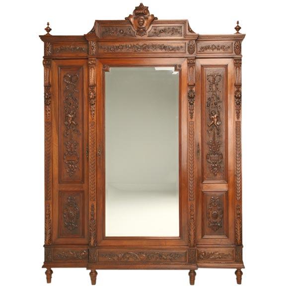 henri ii style three door walnut armoire at 1stdibs. Black Bedroom Furniture Sets. Home Design Ideas