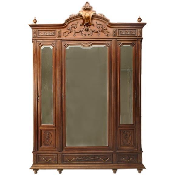 napoleon iii three door armoire at 1stdibs. Black Bedroom Furniture Sets. Home Design Ideas