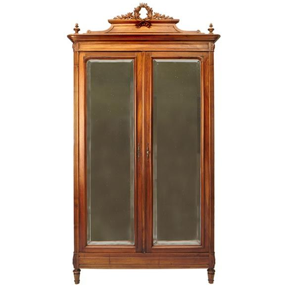 louis xvi style mirrored armoire at 1stdibs. Black Bedroom Furniture Sets. Home Design Ideas