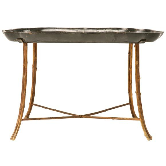 c1880 Paper Mache and Solid Bronze Faux Bois Coffee Table at 1stdibs