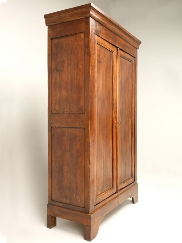 petite louis philippe style walnut armoire at 1stdibs. Black Bedroom Furniture Sets. Home Design Ideas