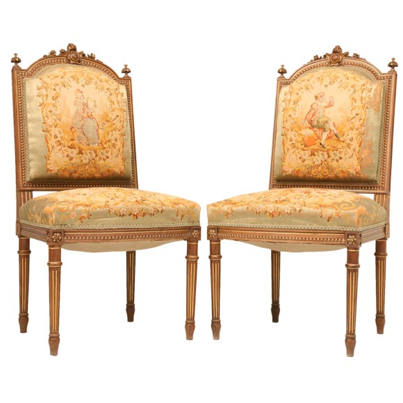 Charmant C.1880 Pair Of Louis XVI Style Side Chairs (2 Pair Available) For