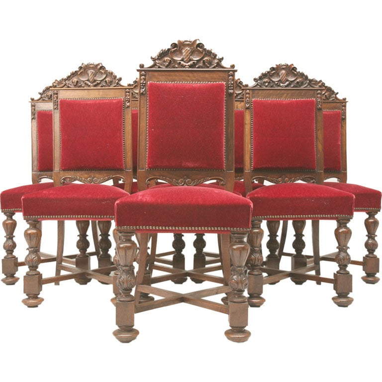 of 8 heavily hand carved spanish dining chairs is no longer available
