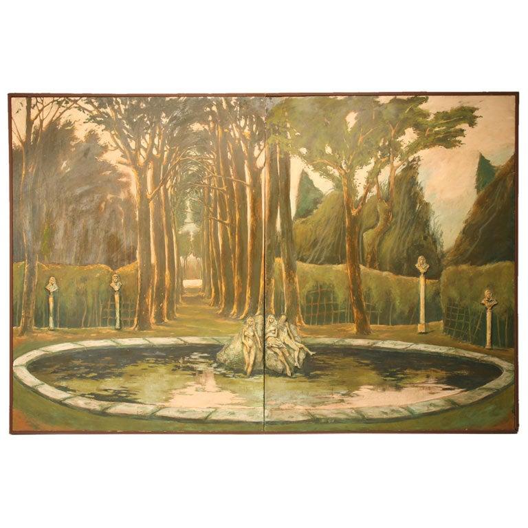 "Life Size Original 3-D ""Garden of Versailles"" 8' X 12'  Two-Panel Wall Mural"