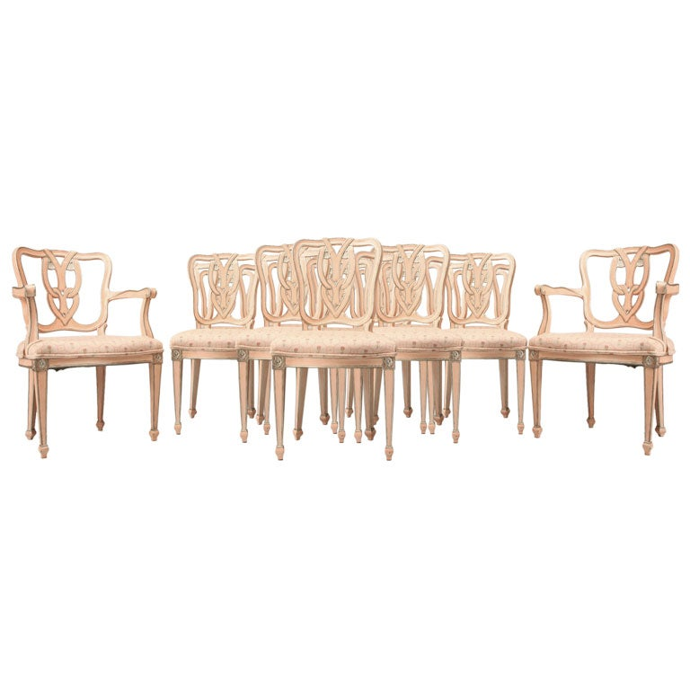 Set of 8 painted italian dining room chairs at 1stdibs for 8 dining room chairs