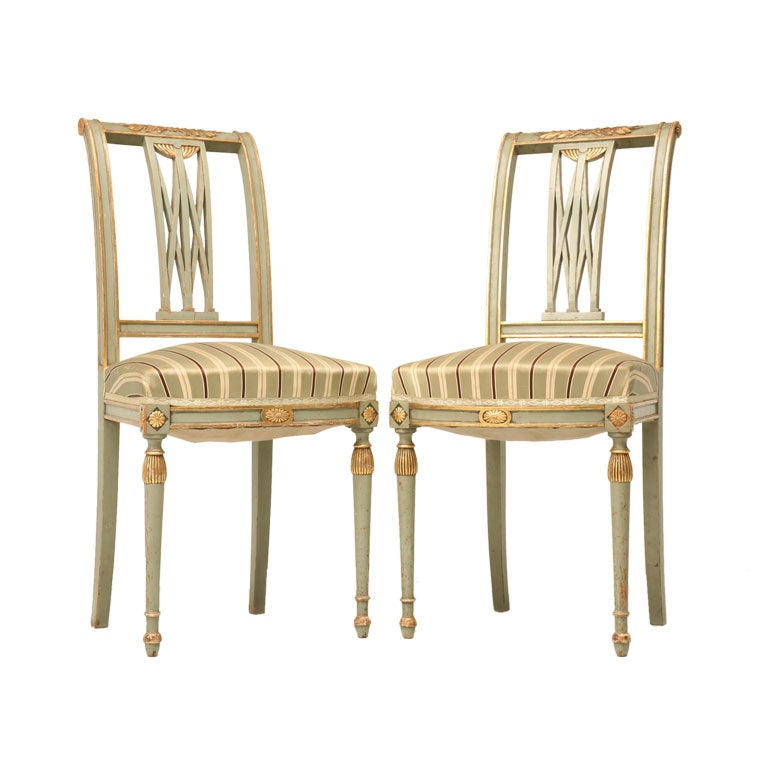 c.1900 Pair of French Directoire Style Side Chairs 1