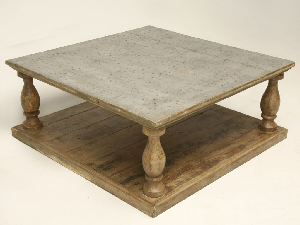 French Distressed Paint Coffee Table W Zinc Top At 1stdibs