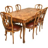 c.1890 Hand-Carved Italian Olive Wood Dining Set