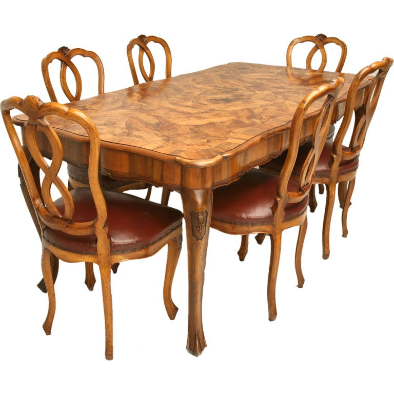 this hand carved italian olive wood dining set is no longer