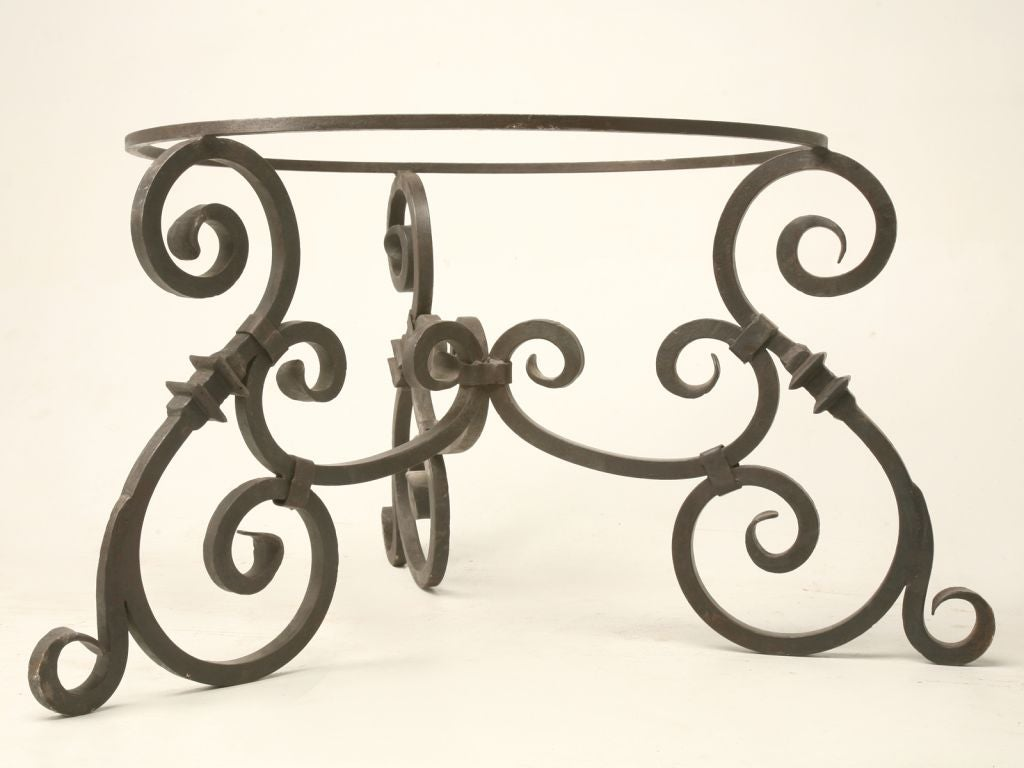Hand forged iron table base at 1stdibs for Forged iron table base