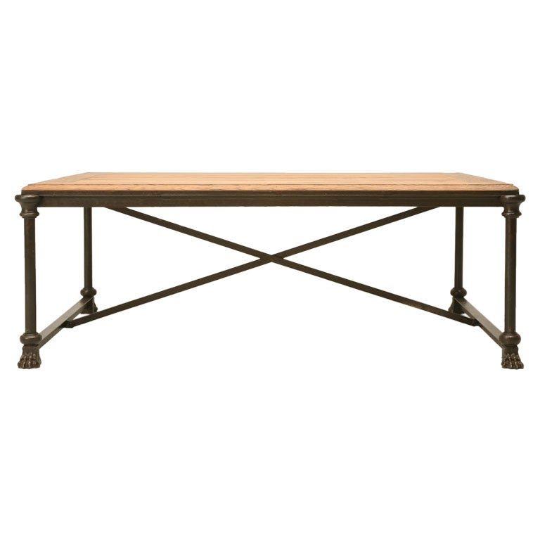 Industrial French Oak And Steel Coffee Table At 1stdibs