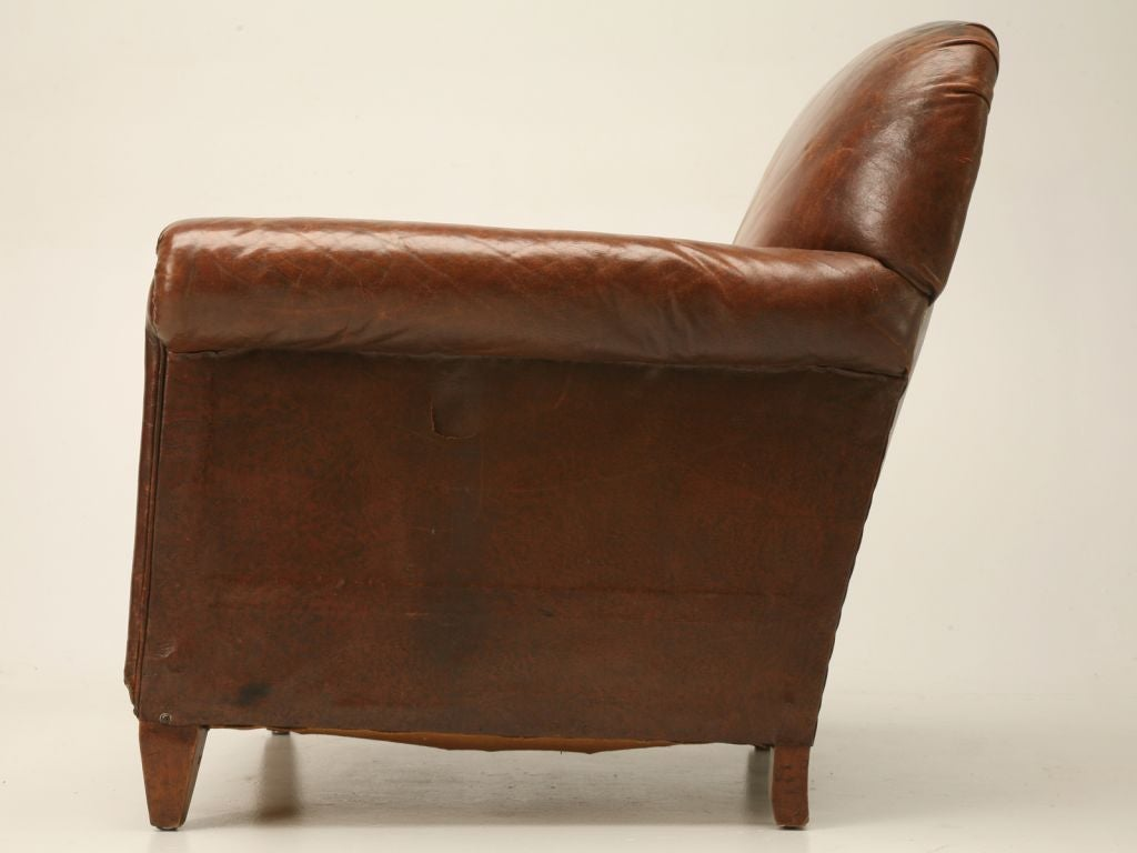 Vintage English Leather Club Chair With A Kilim Seat The Is Not Original It